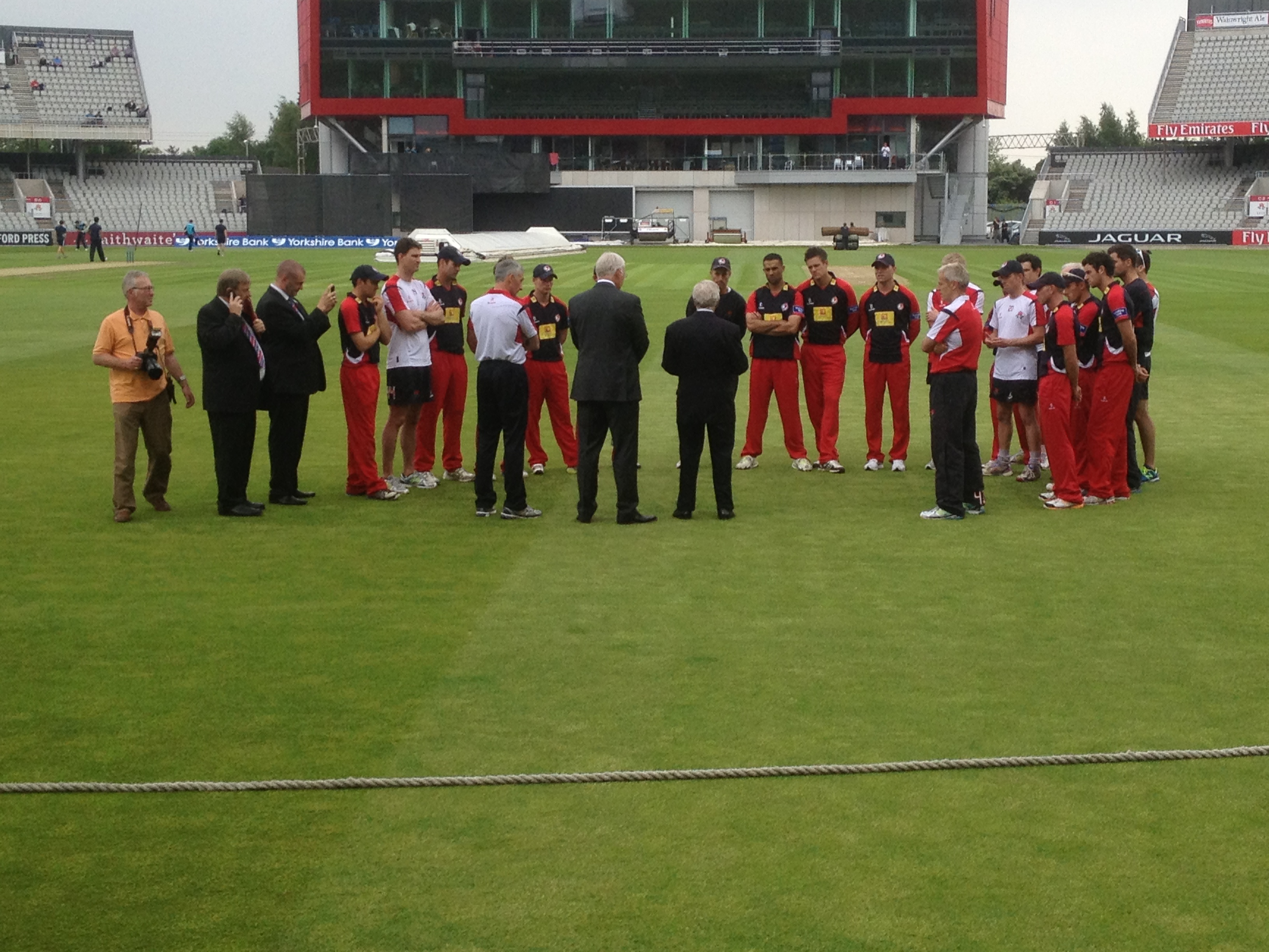 Lancashire players and officials at Tuesday's opening of the new pavilion