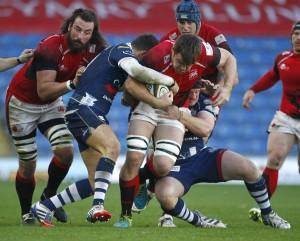 Trundling on: Ollie Stedman trucks forward for Welsh