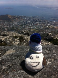 Stan, Cam's sock puppet enjoying the view